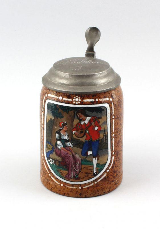 Keramik Bierkrug Liebelei-Szene um 1900/30 99848009