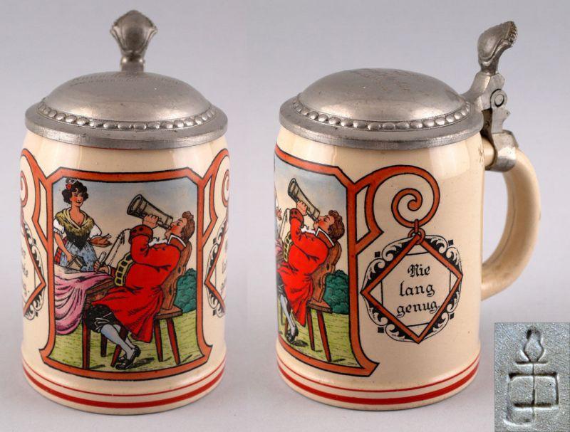 Keramik Bierkrug Marzi & Remy Jugendstil Biergartenszene 99848010