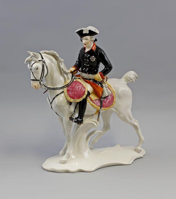 Porzellan Figur Alter Fritz zu Ross Ens H33cm,L33cm 9941457
