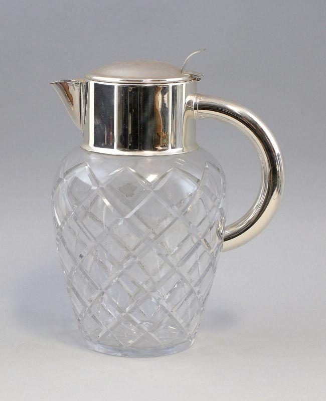 8135039 Kalte Ente Karaffe Kristall Glas mit versilberter Montierung
