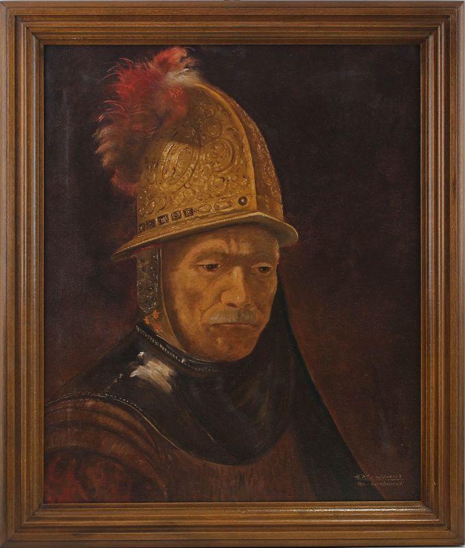 8060140 Öl-Gemälde sign. Kleinschmidt Kopie Mann mit dem Goldhelm nach Rembrandt