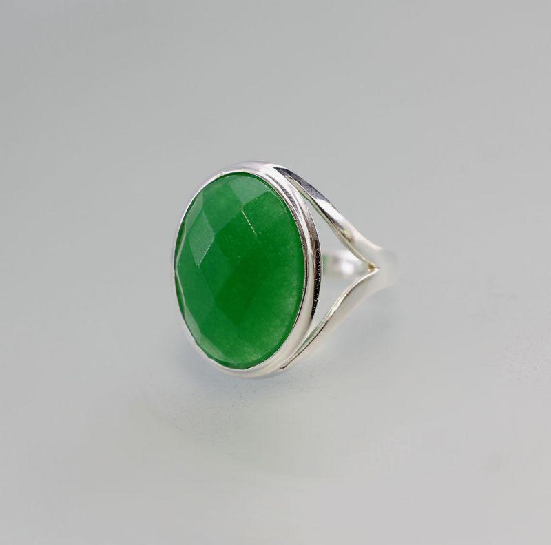 925er Silber modischer Ring mit grünem facettiertem Achat Gr. 59 9907083