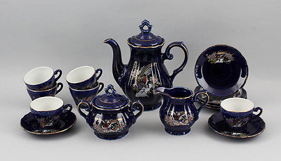 Porzellan Japanisches Mokka-Service Kobalt Floral-Dekor m.Vögeln Japan 99840147