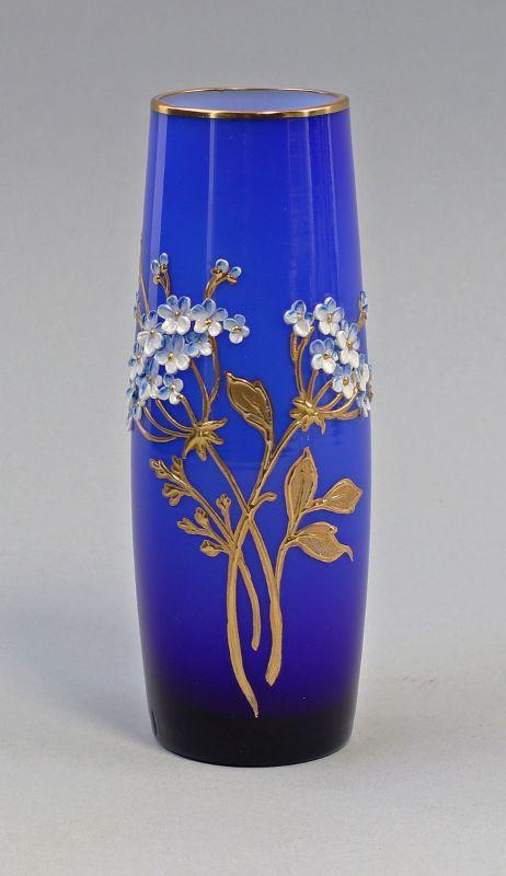 8135029 Glas Vase Jugendstil Böhmen goldgehöhte Emailmalerei