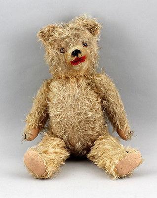 Teddy mit Brummstimme mit Holzwolle gestopft beiges Mohairfell L 40 cm 99810047