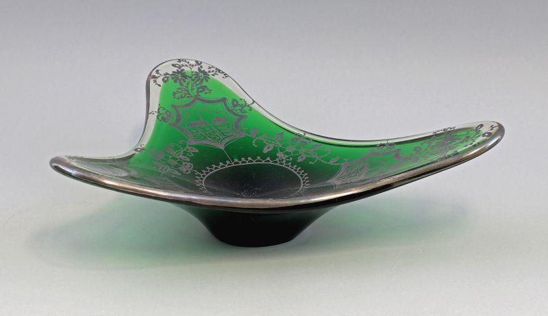 8135024 Glas Designer Schale Murano Kristallglas 50er/60er Jahre Silberauflage