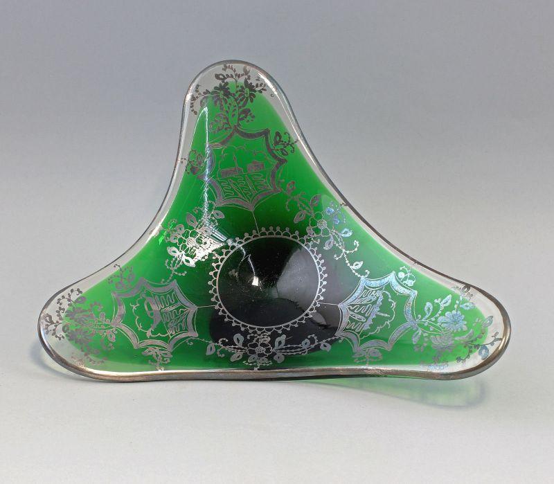 8135024 Glas Designer Schale Murano Kristallglas 50er/60er Jahre Silberauflage 1