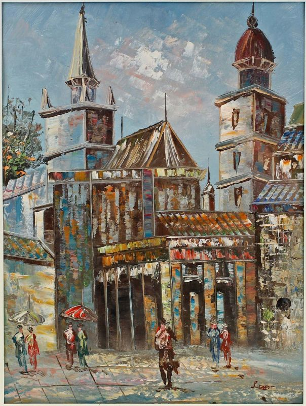 8060054 Öl-Gemälde Straßenszene Marktplatz Altstadt