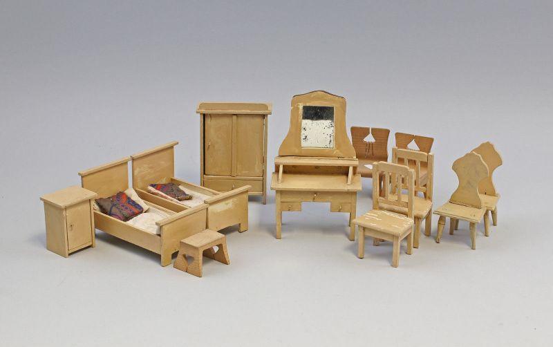 99810074 Puppenstubenmöbel Schlafzimmer Holz lackiert um 1920/30