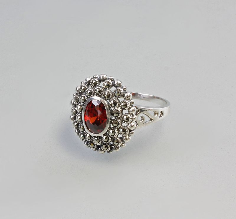 925er Silber Ring Zirkonia rot Gr.59 9907150