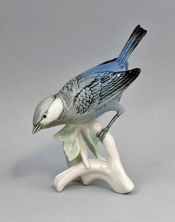 Porzellan Figur Vogel Blauer Tangara Ens 11 x 7 x 14 cm 9941239