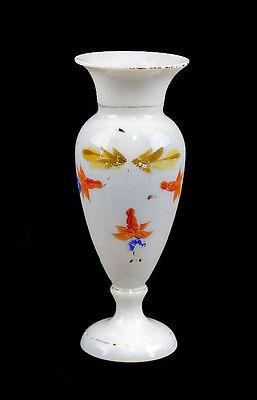 Vase Floraldekor Opalinglas 19. Jh. mundgeblasen von Hand bemalt Gold 99835266