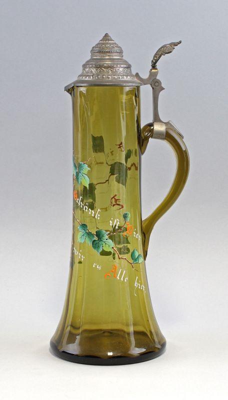 8135007 Großer Glas Schenk-Krug um 1900 Emailmalerei Trinkspruch Bier