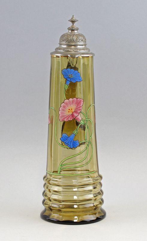 8135006 Großer Glas Schenk-Krug um 1900 Emailmalerei Zinndeckel
