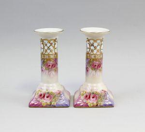 Paar Leuchter Mit Farbigem Blumendekor Porzellan 9987066