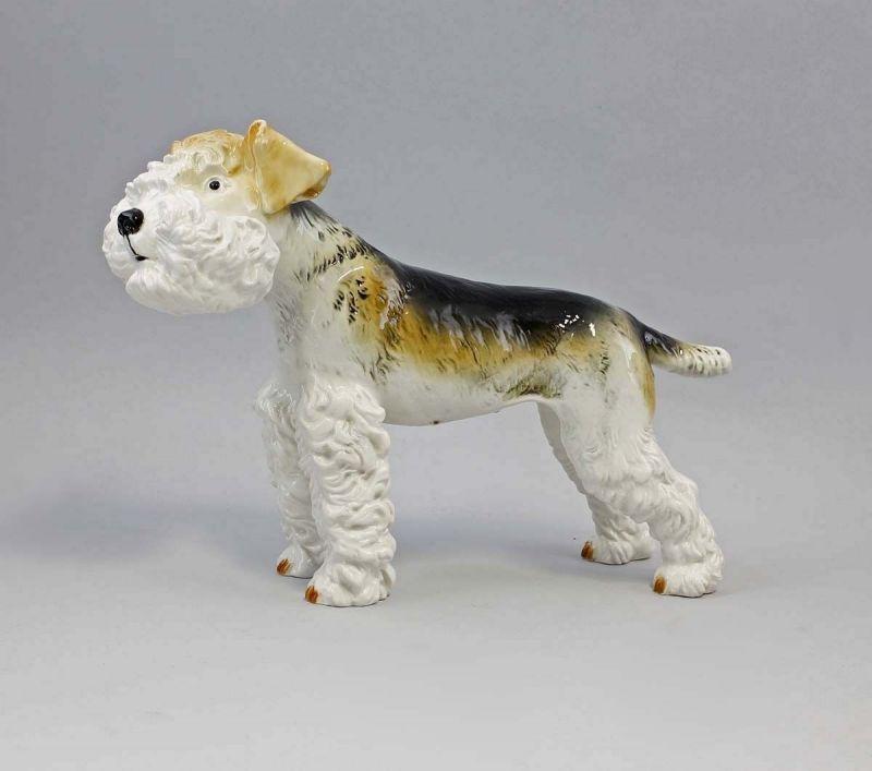 Große Porzellan Figur Hund Terrier Ens 20x30cm 9941345