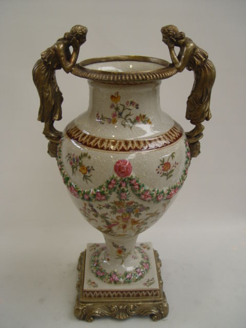 Messing Keramik Amphore Vase Schönheiten Historismus prunkvoll neu 99937876-dss