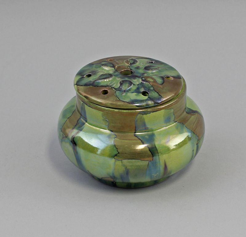 Lüstrierte Blumen-Steck-Vase Keramik Laufglasur Mitte 20. Jh. 99845120