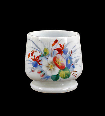 Milchglas Vase Art Deco opakes Glas Emailmalerei 99835272