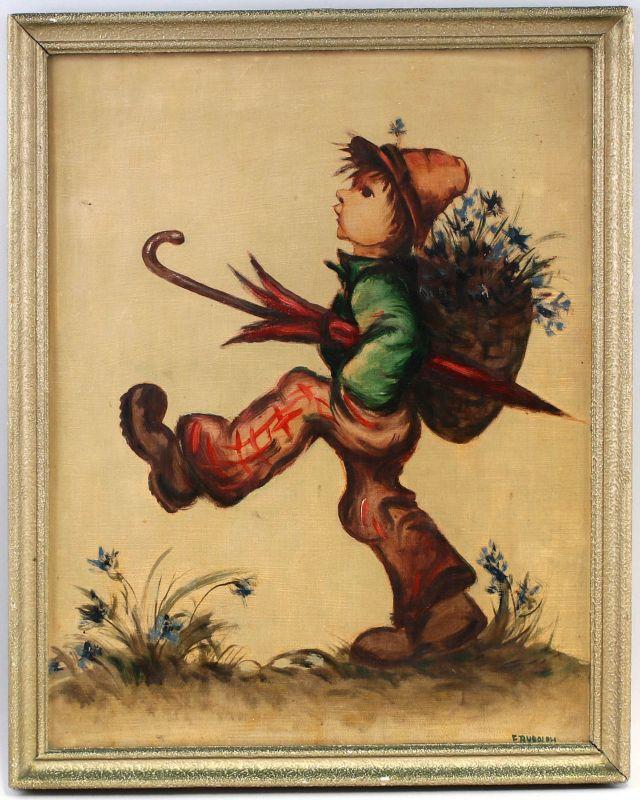 8160099 Öl-Gemälde signiert E. Rudolph nach Hummel-Motiv