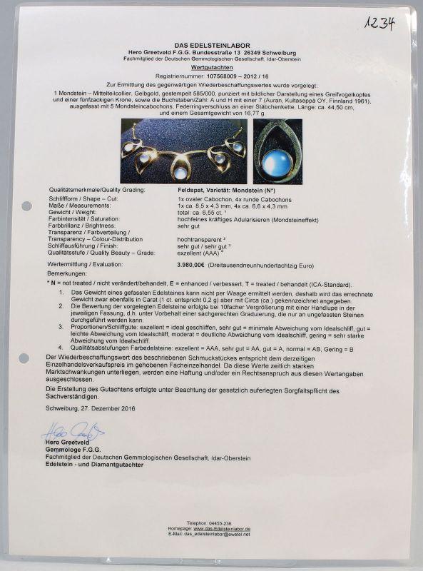 8125057 Goldenes Mondstein-Collier 585er Gold ca. 6,55 ct. L44cm 1