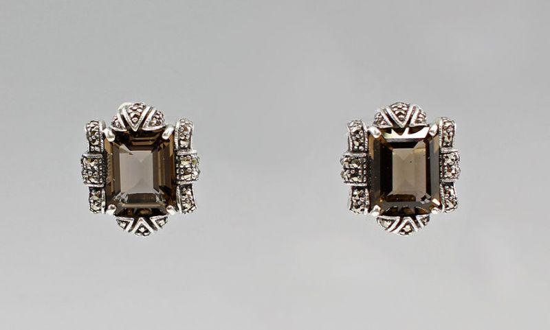 925er Silber Ohrstecker Rauchquarz 9907128/7025120