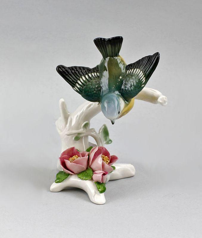 Porzellan Figur kleine Blaumeise mit Apfelblüte Ens H14cm 9941326