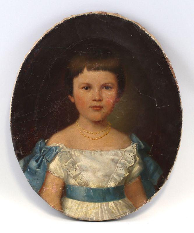 8160071 Öl-Gemälde Porträt eines Mädchens Mitte 19. Jh. Biedermeier