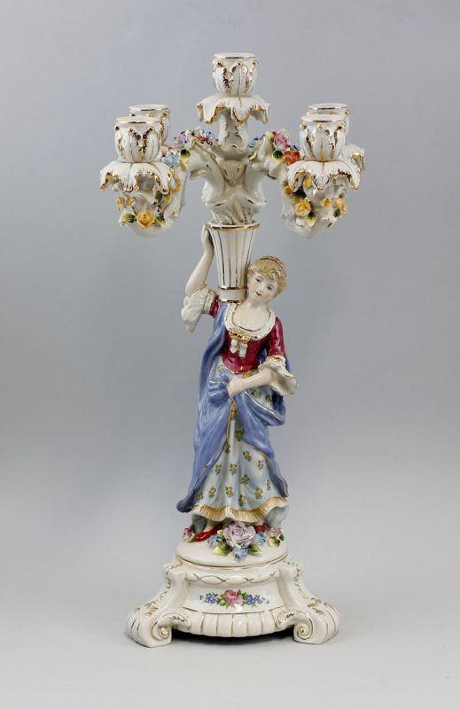 5-flammiger Prunk-Kandelaber mit Damen-Figur Goldauflage Porzellan NEU 9937392