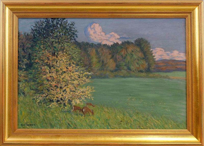Öl-Gemälde signiert Pfaff Wiesenstück mit Rehen Lichtung 99860179