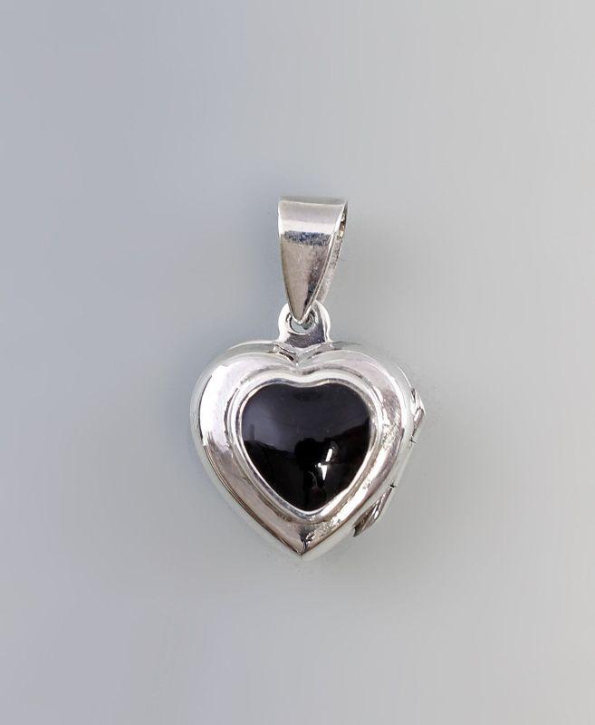 9904158 925er Silber Anhänger Medaillon zum Aufklappen Herz mit Stein D2,5cm