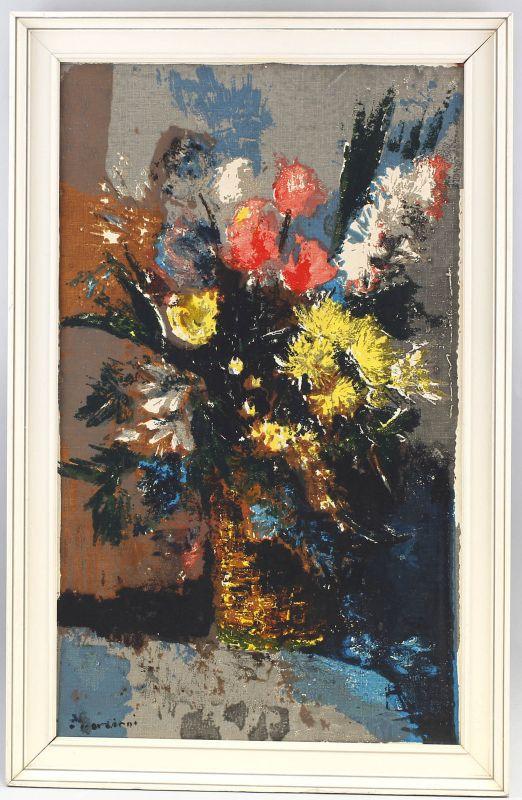 Gemälde signiert Cordiani Modernes Blumen-Stillleben Italien 99860085