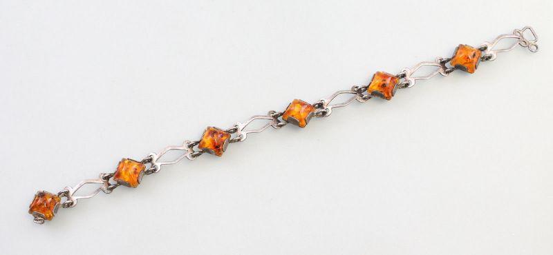 8125040 Silbernes Bernstein-Armband 835er Silber Fischland L19,5cm