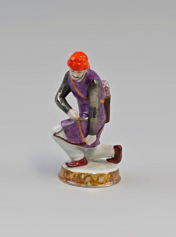 Porzellan Schach-Figur Bauer Orientalisch Schütze Älteste Volkstedt 99840110