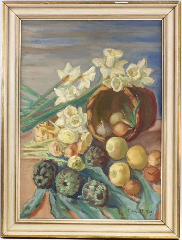 Ölgemälde signiert I. Marvilo Blumen Früchte-Stillleben Artischocken 99860084