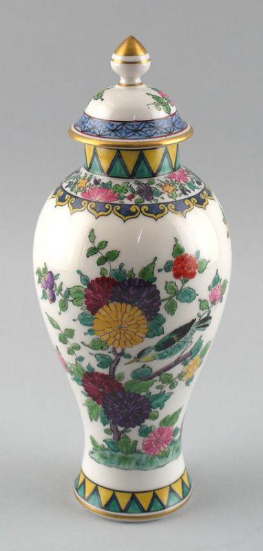 Handbemalte Deckel-Vase im asiatischem Stil Blumendekor H 28 cm 99840235
