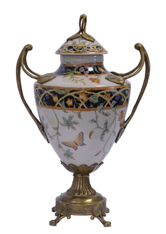 Messing Keramik Deckel Amphore Vase Jugendstil prunkvoll neu 99937809-dss