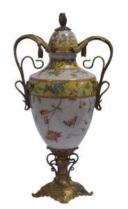 Messing Keramik Deckel Amphore Vase Jugendstil floral prunkvoll neu 99937810-dss