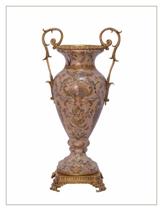 Messing Keramik Amphore Vase Jugendstil floral prunkvoll neu 99937814-dss