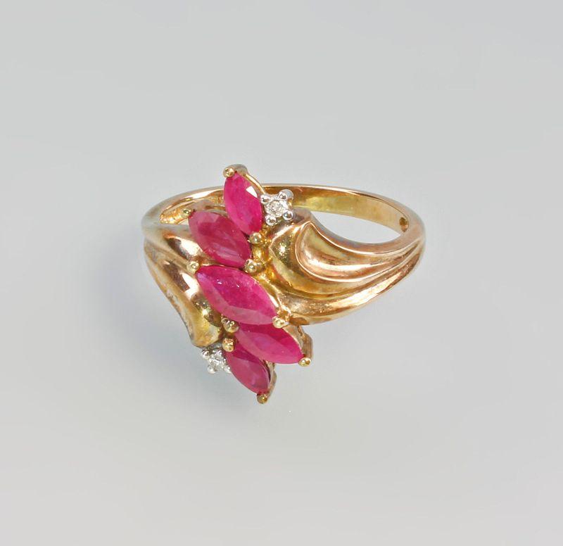 333er Gold Ring Rubin Brillant Blüte 99825187