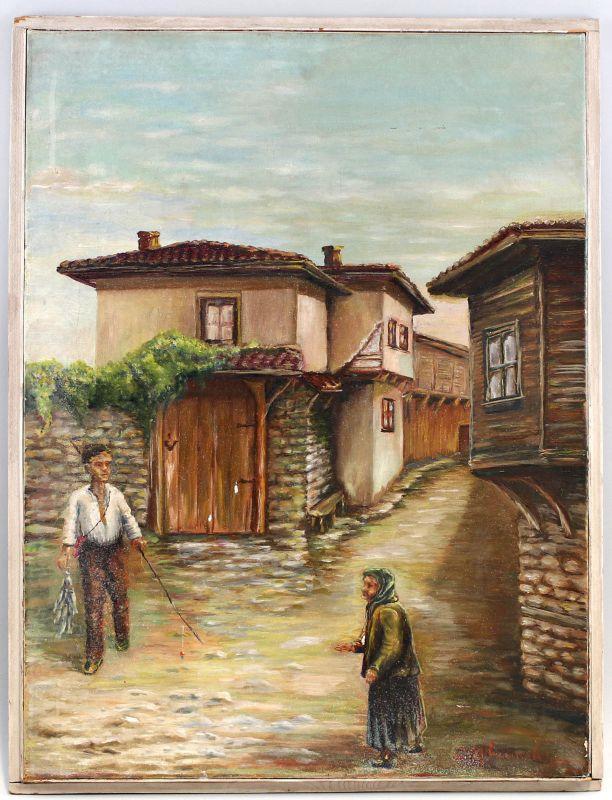 8160029 Öl-Gemälde signiert Russische Dorf Szene Fischer