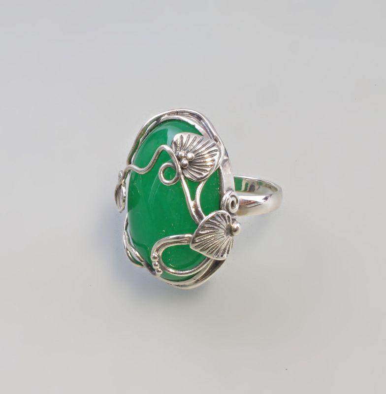 9907312 925er Silber Ring Grün-Achat floral Jugendstil neu Gr.54