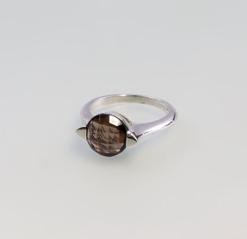 9907325 925er Silber Ring Rauchquarz Gr.57
