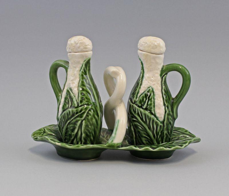 9918634 Öl/Essig Menage Wirsing Blumenkohl Keramik Majolika Portugal