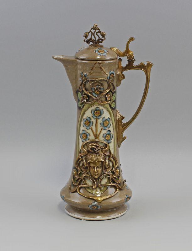 Bronze Keramik Kanne Jugendstil Neu 9973073