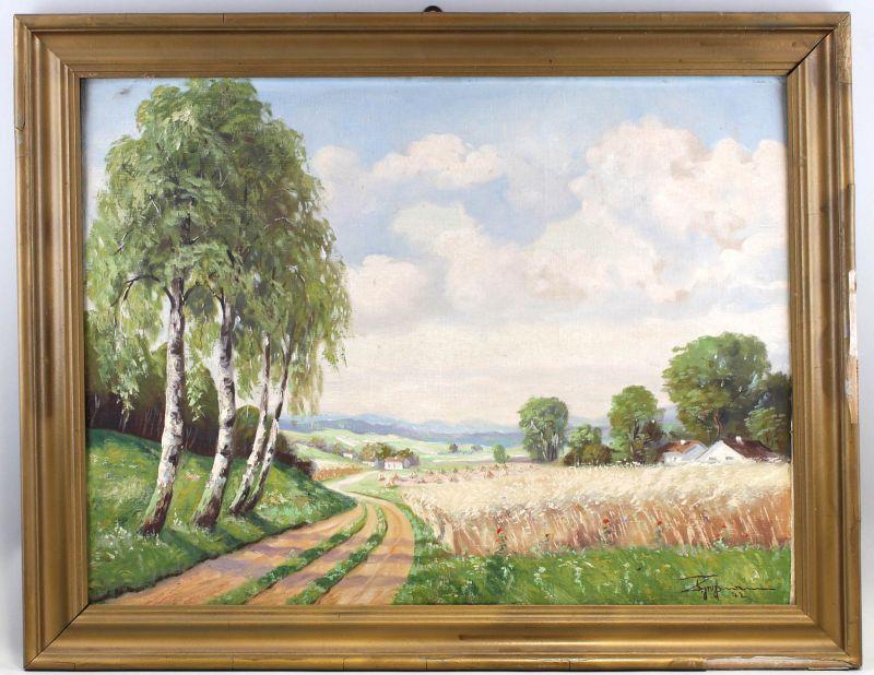 8160025 Öl-Gemälde signiert Z. Grußmann 1942 Sommerlicher Feldweg Birken