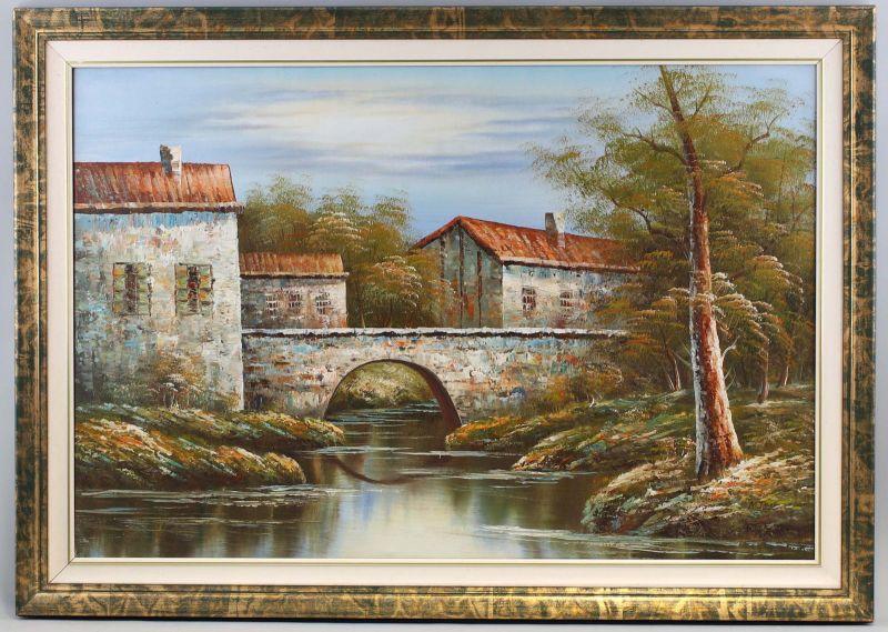 8160024 Öl-Gemälde signiert N. Jacob Brücke am Waldrand