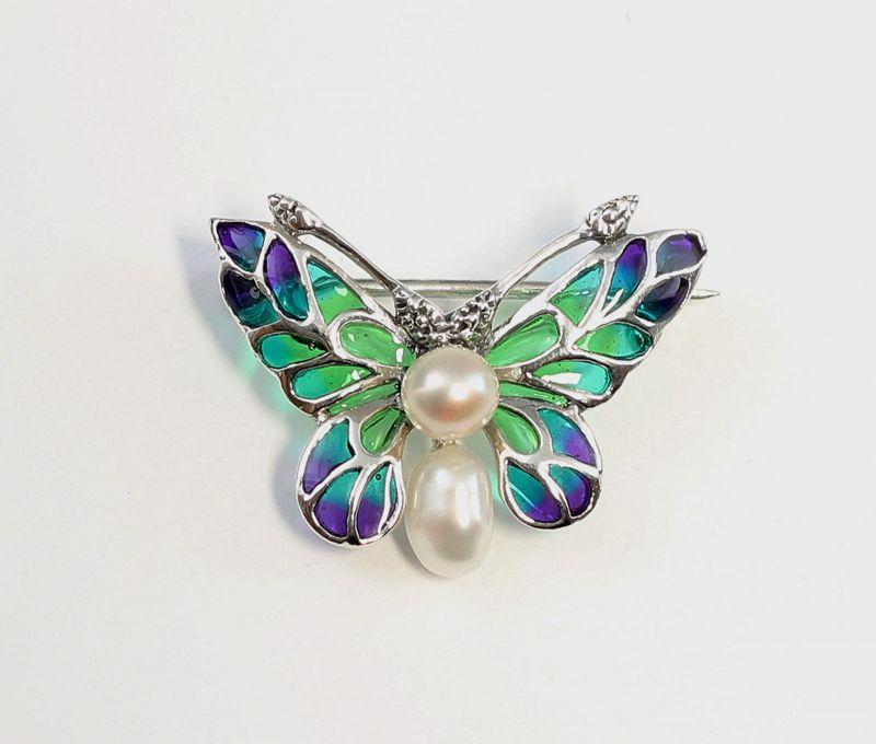 9927041 925er Silber emaillierte Brosche Schmetterling mit Perlen