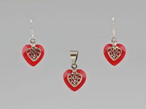 9907297 925er Silber Garnitur Anhänger Ohrringe Karneol-Herzen