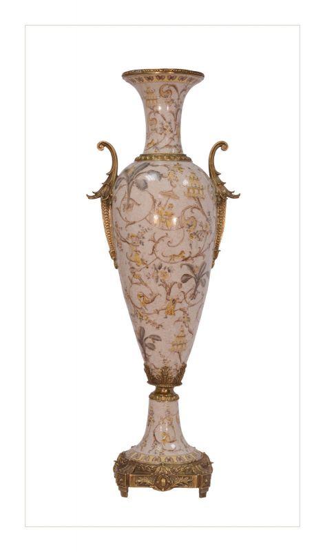 Messing Keramik Henkel Amphore Vase prunkvoll neu 99937832-dss